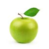 Green,Apple,With,Leaf,Isolated,On,A,White,Background